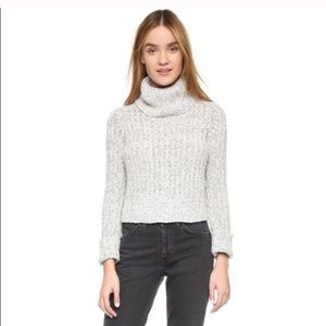 Free people turtleneck cropped gray sweater small